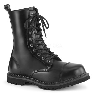 ekte skinn RIOT-10 stål tå cap ankelstøvletter - demonia militærstøvler