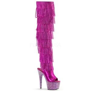 fuchsia kunstlær 18 cm BEJRSF-7 høye støvletter med frynser til dame