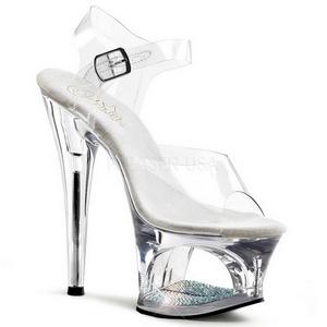 gjennomsiktig 18 cm Pleaser MOON-708DM platå høye hæler sko