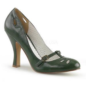 grønn 10 cm SMITTEN-20 pinup pumps med lave hæler