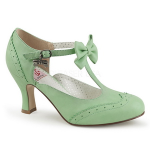 grønn 7,5 cm retro vintage FLAPPER-11 pinup pumps med lave hæler