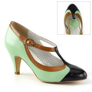 grønn 8 cm retro vintage PEACH-03 pinup pumps med lave hæler