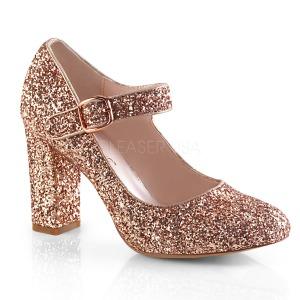 gull 9 cm SABRINA-07 pinup pumps sko med blokkhæl