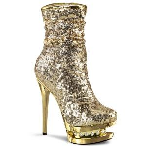 gull paljetter 15,5 cm BLONDIE-R-1009 pleaser ankelstøvletter med platå