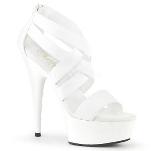 hvit elastisk band 15 cm DELIGHT-669 pleaser sko med hæler til kvinner