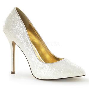hvit glitter 13 cm AMUSE-20G høye pumps fest sko med hæl