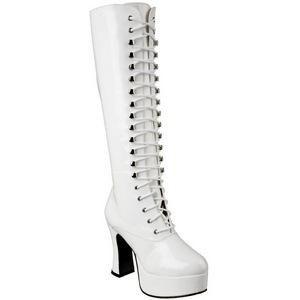 hvit lakk 10,5 cm EXOTICA-2020 høye dame støvler med snøring
