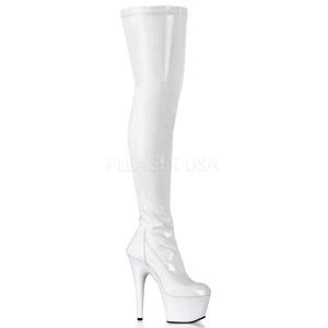 hvit lakk 18 cm ADORE-3000 lårhøye støvler