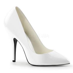 hvit lakkert 13 cm SEDUCE-420 dame pumps sko flate hæl
