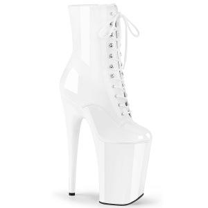 hvit lakklær 23 cm INFINITY-1020 ekstremt ankelstøvletter høye hæler - platå støvletter