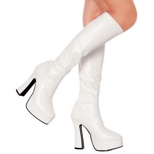 hvit matt 13 cm Pleaser ELECTRA-2000Z platå høye støvler