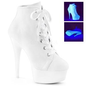 hvit neon 15 cm DELIGHT-600SK-02 canvas joggesko med høye hæler