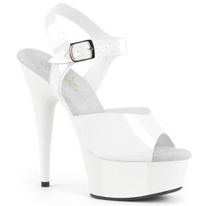 hvite høye hæler 15 cm DELIGHT-608N JELLY-LIKE strekkmateriale platå høye hæler