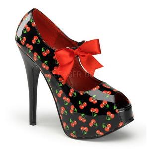 kirsebær svart 14,5 cm Burlesque TEEZE-25-3 høye damesko med høy hæl