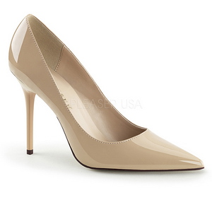 krem lakkert 10 cm CLASSIQUE-20 dame pumps sko stiletthæl