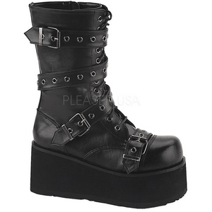 kunstlær 8,5 cm TRASHVILLE-205 platå gotisk støvler til menn
