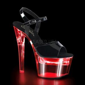 lakklær 18 cm FLASHDANCE-709 pole dance sko stripper sandaletter led lyspære