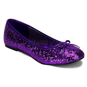 lilla STAR-16G glitter ballerinasko dame med flate hæl
