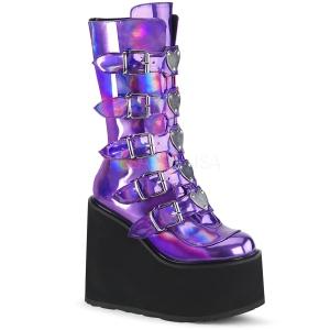 lilla hologram 14 cm SWING-230 cyberpunk platåstøvler