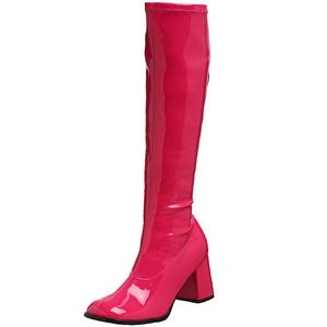 pink lakkert 8,5 cm GOGO-300 høye damestøvler til menn