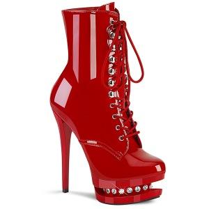 rød 15,5 cm BLONDIE-R-1020 platå ankelstøvletter med snøring i lakklær