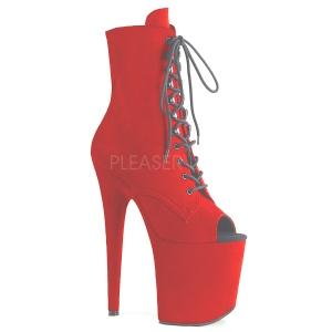 rød faux suede 20 cm FLAMINGO-1021FS pole dance ankelstøvletter