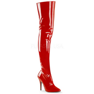 rød lakk 13 cm SEDUCE-3010 lårhøye støvletter