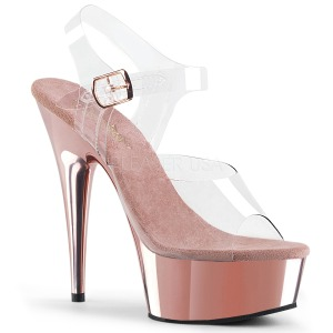 rosa 15 cm Pleaser DELIGHT-608 høye hæler krom platå