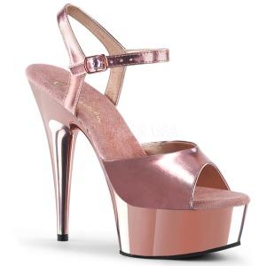 rosa 15 cm Pleaser DELIGHT-609 krom platå høye hæler
