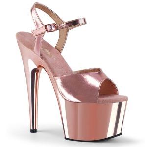 rosa 18 cm ADORE-709 krom platå høye hæler