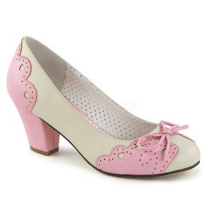 rosa 6,5 cm retro vintage WIGGLE-17 pinup pumps sko med blokkhæl