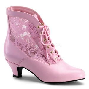 rosa blondestoffer 5 cm DAME-05 dame ankelstøvletter med snøring