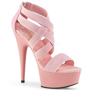 rosa elastisk band 15 cm DELIGHT-669 pleaser sko med hæler til kvinner