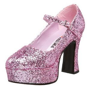 rosa glitter 11 cm MARYJANE-50G platå pumps mary jane