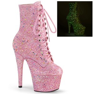 rosa glitter 18 cm ADORE-1020GDLG høyhælte snørestøvletter til pole dance