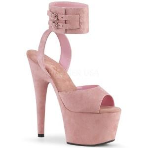 rosa kunstlær 18 cm ADORE-791FS pleaser høye hæler med ankel stropper