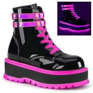 rosa neon 5 cm SLACKER-52 cyberpunk platå ankelstøvletter