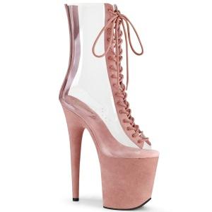 rosa transparent 20 cm FLAMINGO-800-34FS pole dancing ankelstøvletter