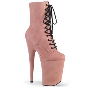 rosa vegan 23 cm INFINITY-1020FS ekstremt ankelstøvletter høye hæler - platå støvletter