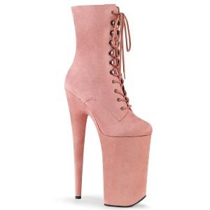 rosa vegan 25,5 cm BEYOND-1020FS ekstremt ankelstøvletter høye hæler - platå støvletter
