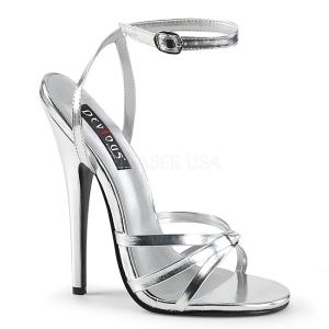 sølv 15 cm DOMINA-108 sko med høye hæler for menn