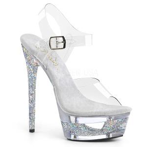 sølv 16,5 cm ECLIPSE-608GT sandaletter med stiletthæl