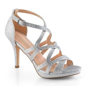 sølv 9,5 cm DAPHNE-42 sandaletter med stiletthæl