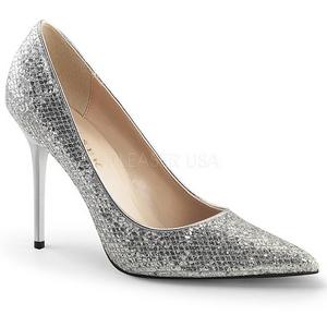 sølv glimmer 10 cm CLASSIQUE-20 store størrelser stilettos sko
