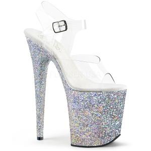 sølv glitter 20 cm FLAMINGO-808LG platå høyhælte sandaler sko