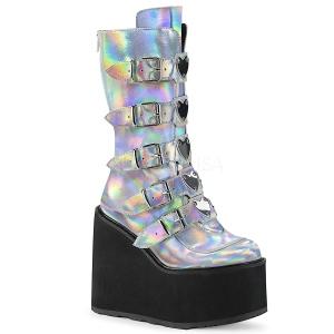sølv hologram 14 cm SWING-230 cyberpunk platåstøvler