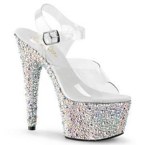 sølv krystall stein 18 cm BEJEWELED-708MS plateau høy hæl sko