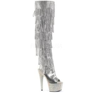 sølv kunstlær 18 cm BEJRSF-7 høye støvletter med frynser til dame