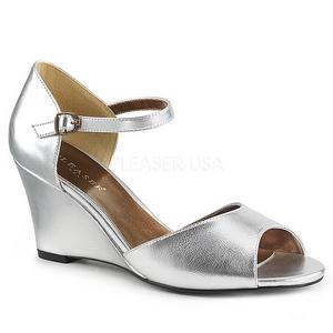 sølv kunstlær 7,5 cm KIMBERLY-05 store størrelser sandaler dame