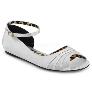 sølv satin ANNA-03 store størrelser ballerina sko